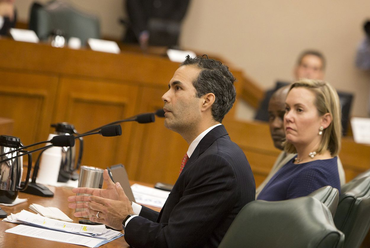 Texas General Land Office Commissioner George P. Bush testifies before the Senate Finance Committee on Dec. 5, 2017