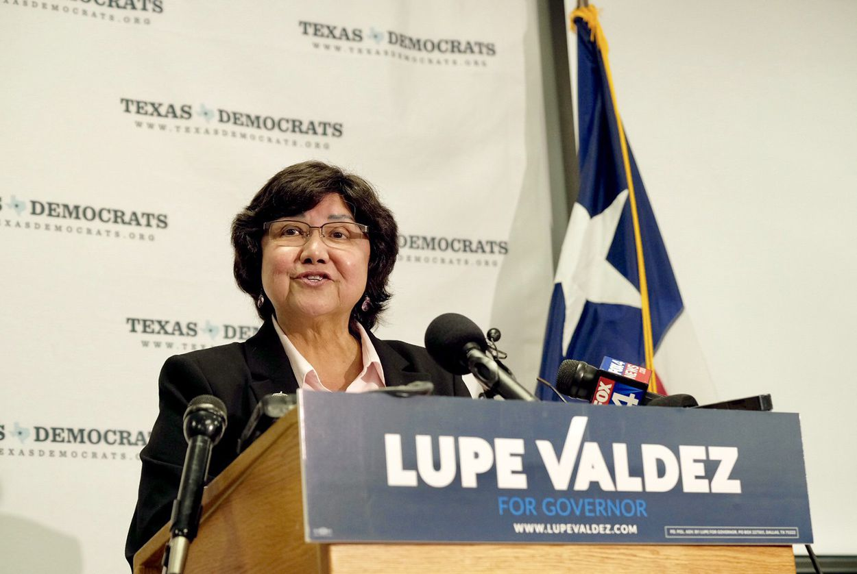 Former Dallas Co. Sheriff Lupe Valdez her announces run as a Democratic candidate for governor at the Texas Democratic Party headquarters in Austin on Dec. 6, 2017.