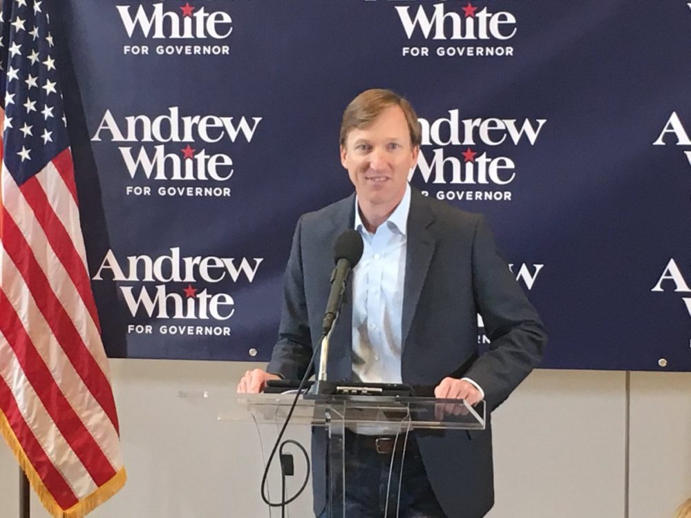 Andrew White declared his candidacy for the Democratic nomination for governor on Thursday, December 7, 2017, in Houston.