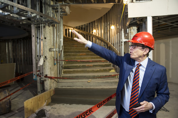 Dean R. Gladden, managing director of the Alley Theatre, gives a tour of areas of the theatre that were damaged by flooding during Hurricane Harvey.