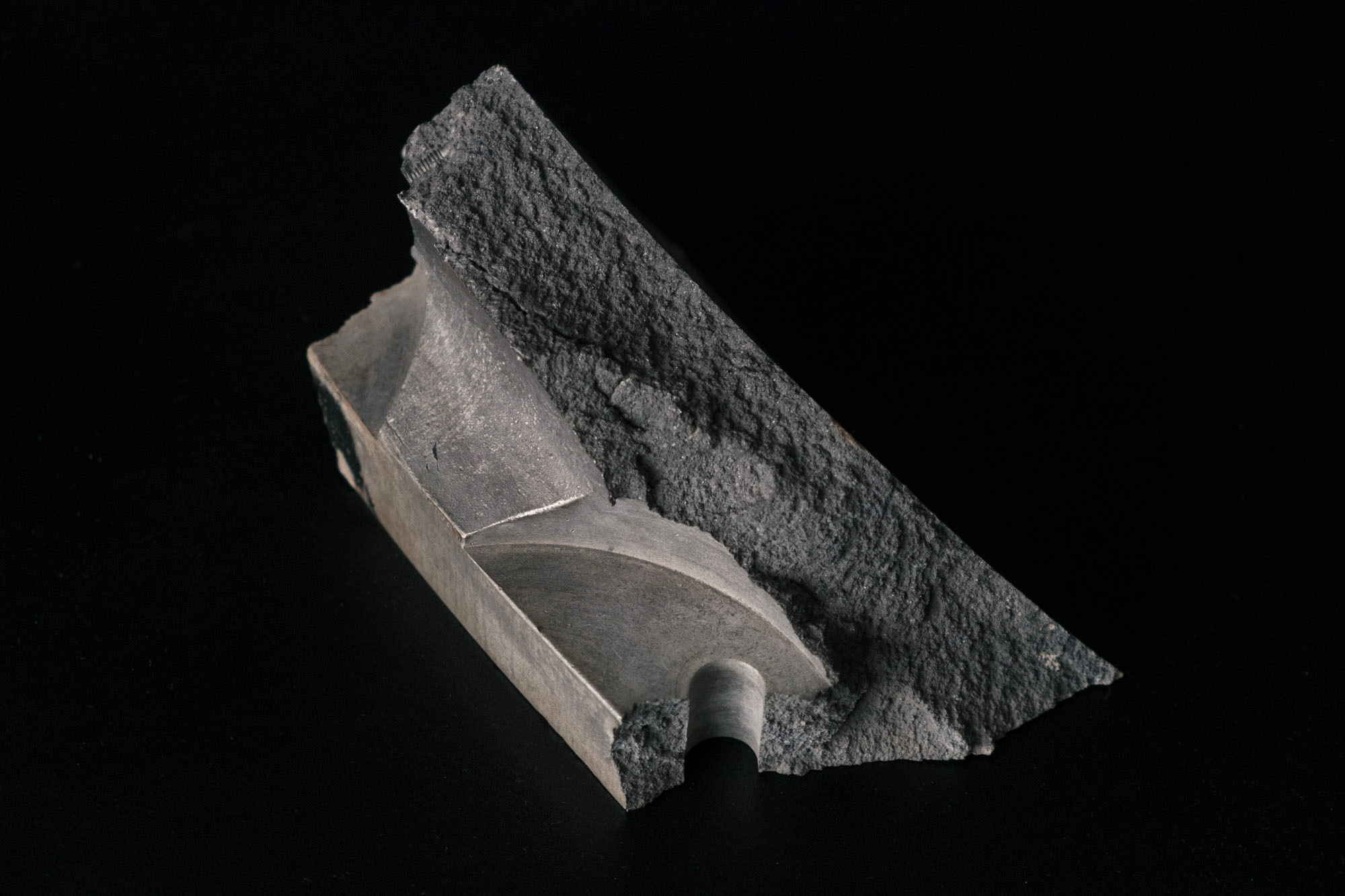 On private land in the western U.S., Coster-Mullen found this fragment of what he believes is bomb casing from a test version of the Fat Man design.