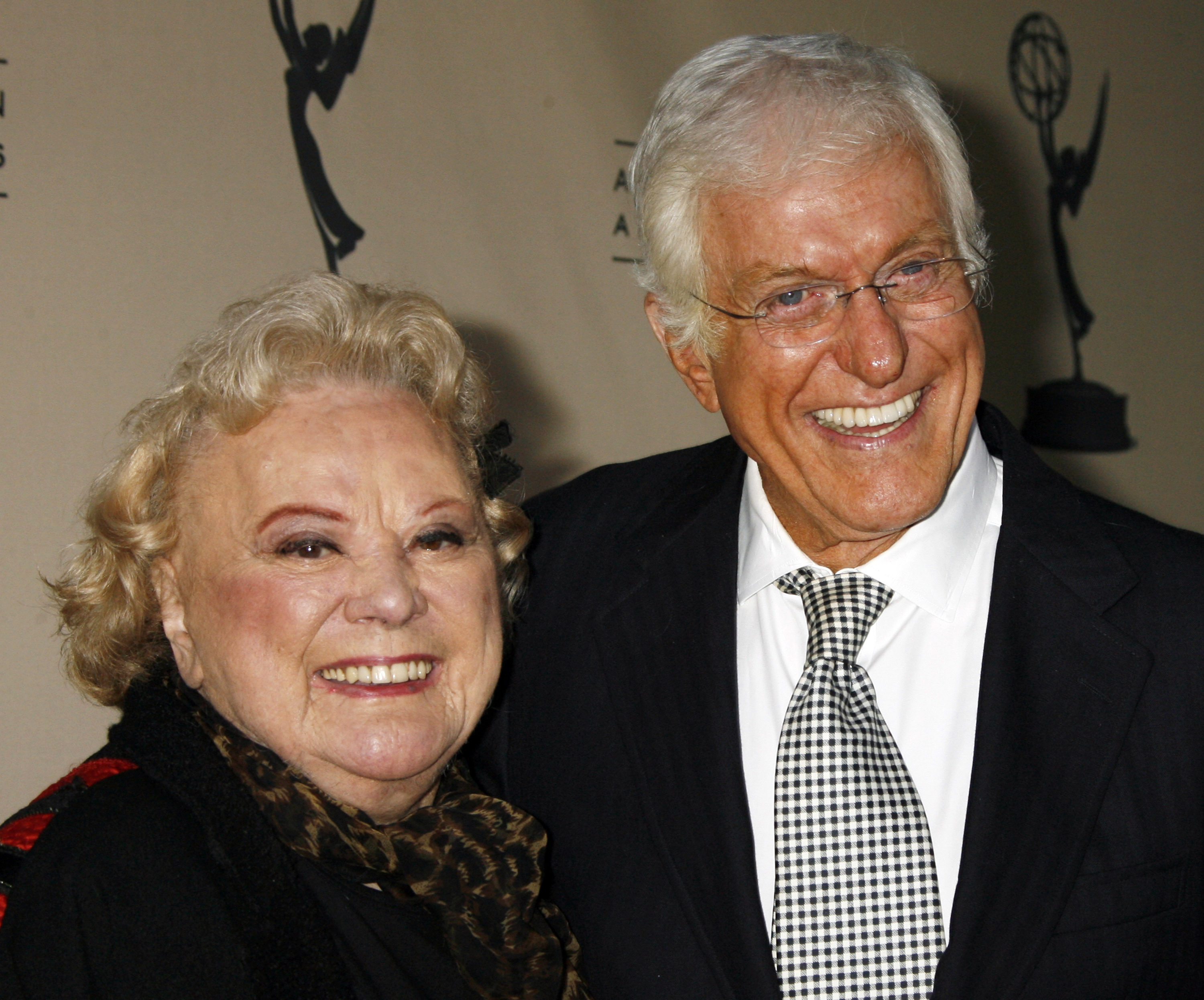 Actors Rose Marie and Dick Van Dyke, who starred in the 1960s television comedy series The Dick Van Dyke Show, pose as they arrive at the Academy of Television Arts & Sciences in Los Angeles in 2006.