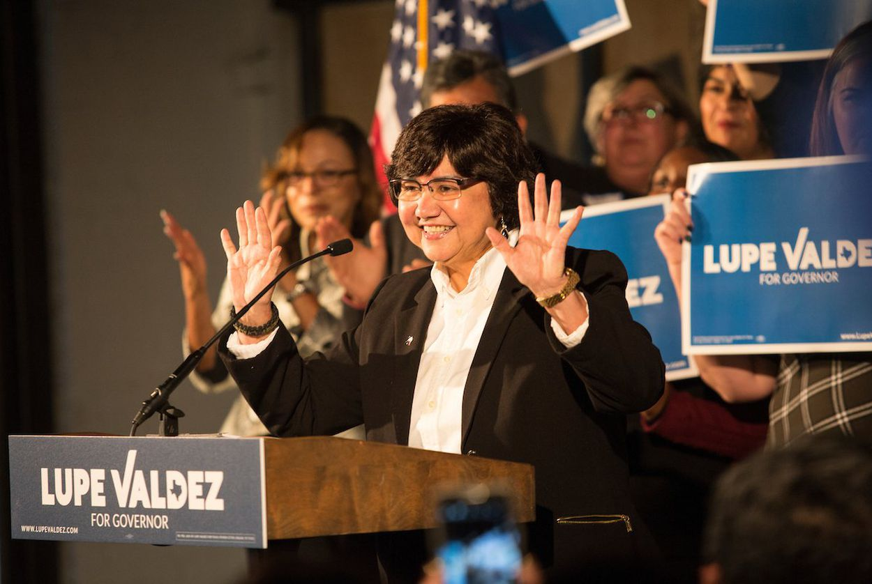 Lupe Valdez, former Dallas County Sheriff, speaks during a kickoff event for her 2018 gubernatorial campaign in Dallas on Jan. 7, 2018.