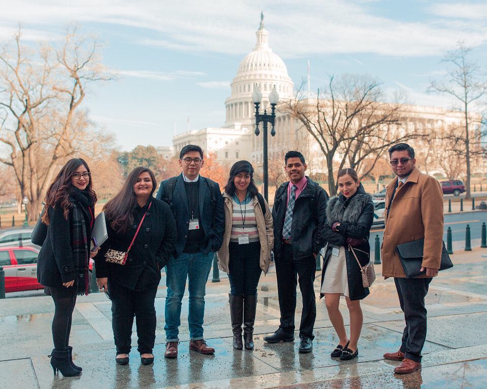 Cesar Espinosa, first on the right, in Washington, D.C. on Wednesday, January 10, 2018, asking members of Congress to pass DACA.