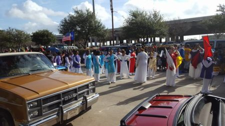 The MLK parade that took place in downtown Houston marched next to some local landmarks such as Minute Maid Park.