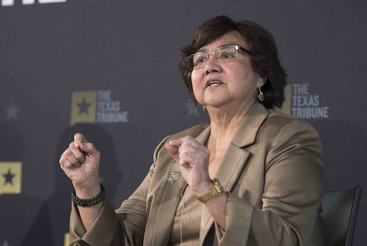 Democratic governor candidate Lupe Valdez of Dallas answers audience questions at a Texas Tribune event on Jan. 18, 2018 at Capital Factory.