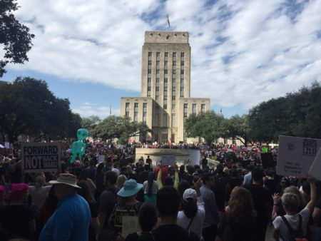 The Houston Women's March gathered approximately 22,000 people in 2017. This photo shows a rally that was held at the end of the march in front of City Hall.