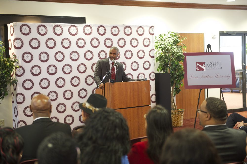 Texas Southern University president Austin Lane addresses the audience during an event held in Houston on January 22nd 2018 to announce the launch of TSU's Center for Justice Research.