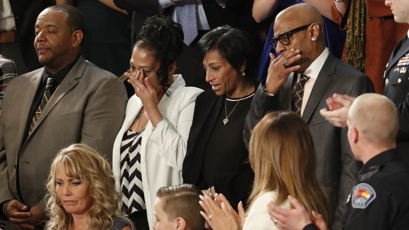 From top left, Robert Mickens, Elizabeth Alvarado, Evelyn Rodriguez, Freddy Cuevas, parents of two Long Island teenagers who were believed to have been killed by MS-13 gang members, during the State of the Union address on Tuesday.