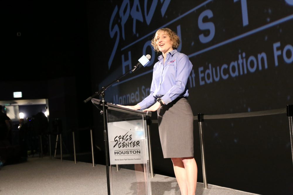 Retired American astronaut Dorothy Metcalf-Lindenburger addresses a group of attendees as part of the 24th edition of Space Exploration Educators Conference at Space Center Houston.