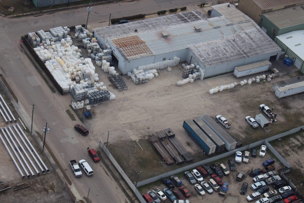 This aerial photo shows the facility Wright Containers has in Houston, which is located in the southeast part of town, in a mixed-residential-industrial commercial neighborhood.