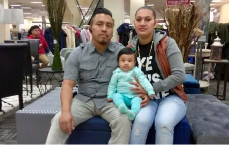 Carlos Andrés (first from the left) poses with his wife Marcela Rivera and his daughter Briana in this photo provided by the family. ICE agents detained Andrés on January 19th 2018 at an apartment complex located in southwest Houston.