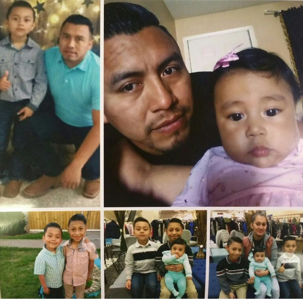 These montage of photos show Carlos Andrés, who is originally from Guatemala, with his family.