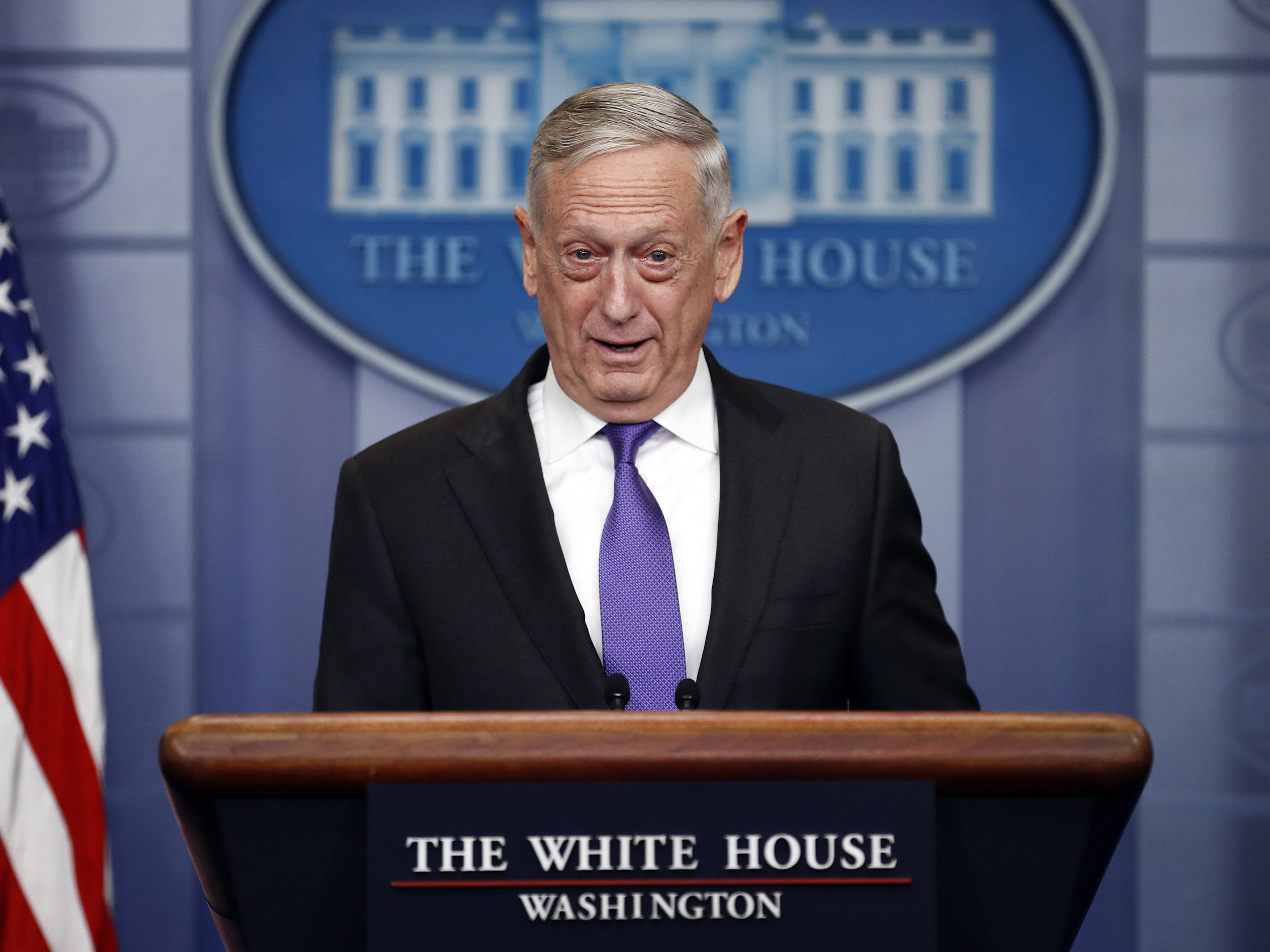 Defense Secretary Jim Mattis pictured speaking at the White House Wednesday. He said Thursday that