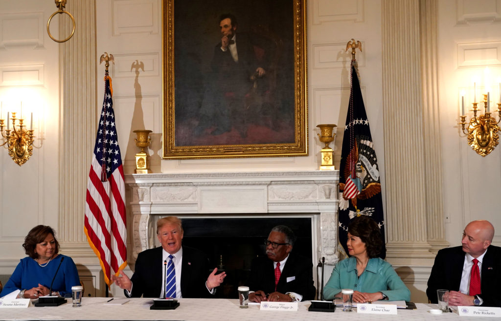 President Donald Trump holds a meeting on his infrastructure initiative at the White House on February 12, 2018. His decision last year to rescind the DACA program gave Congress until March 5 to come up with a legislative solution.