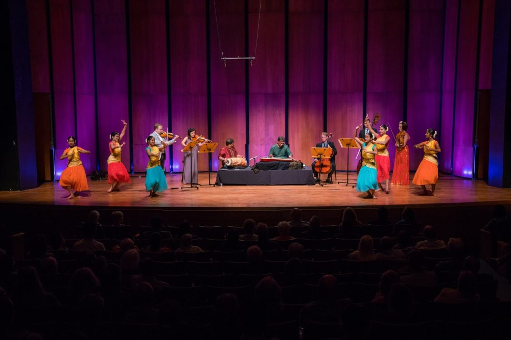 Concert with strings, Indian classical artists, and Indian dancers