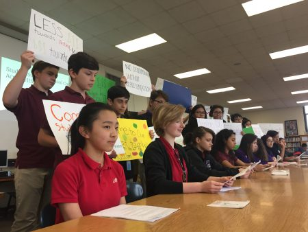 Nina Zhang, 14, joined her classmates at Lanier Middle School in a press conference Tuesday, where they highlighted results from a district-wide student survey. The survey and projects about HISD reforms is a class project for the students.