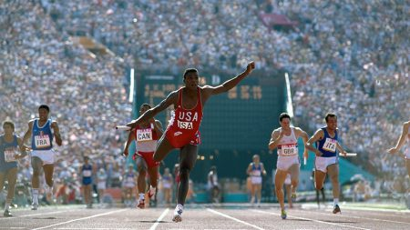 Carl Lewis Winning a Relay Race