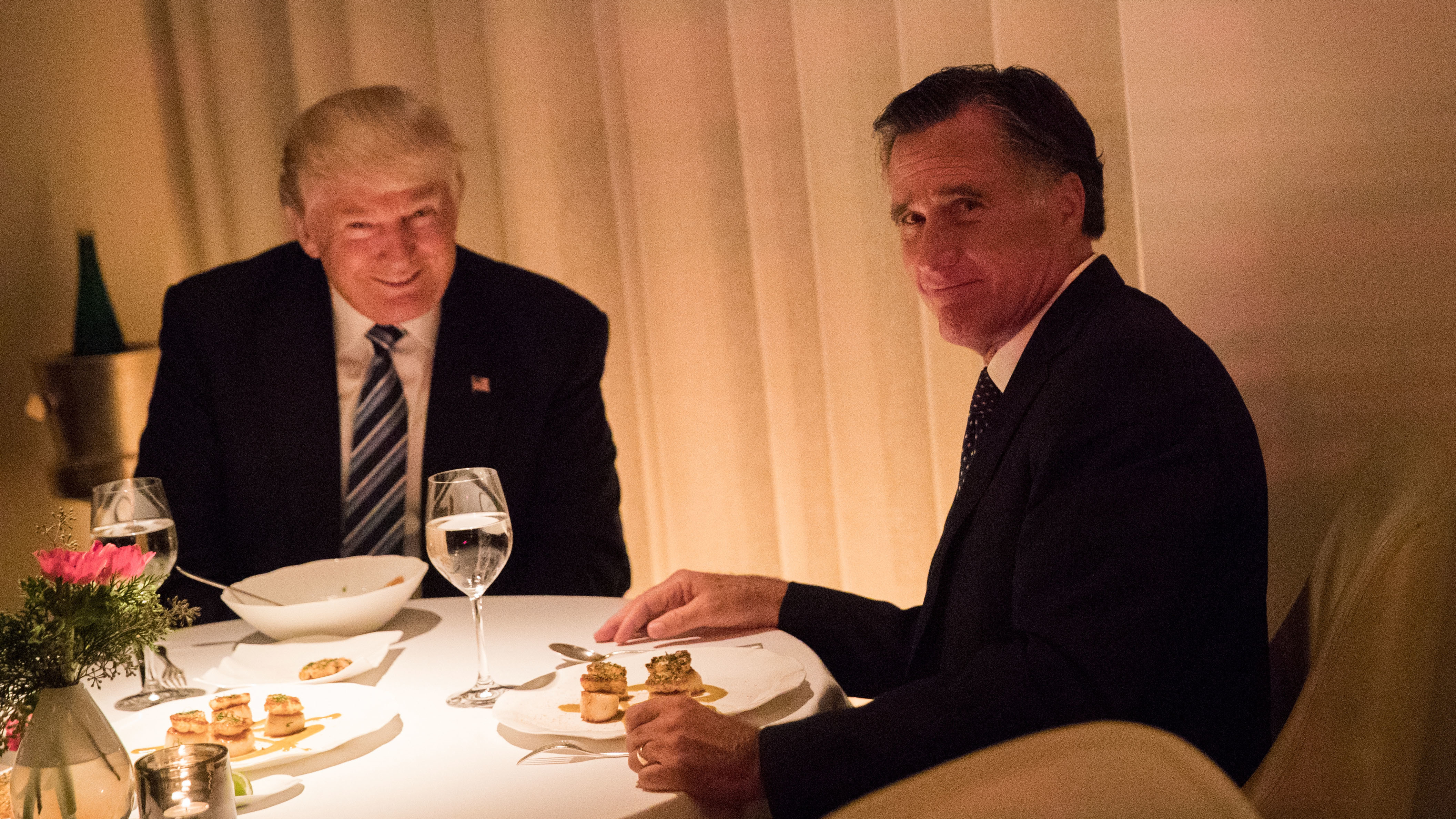 President-elect Trump and Mitt Romney dine at Jean Georges restaurant in November in New York, as Trump considered Romney for secretary of state.