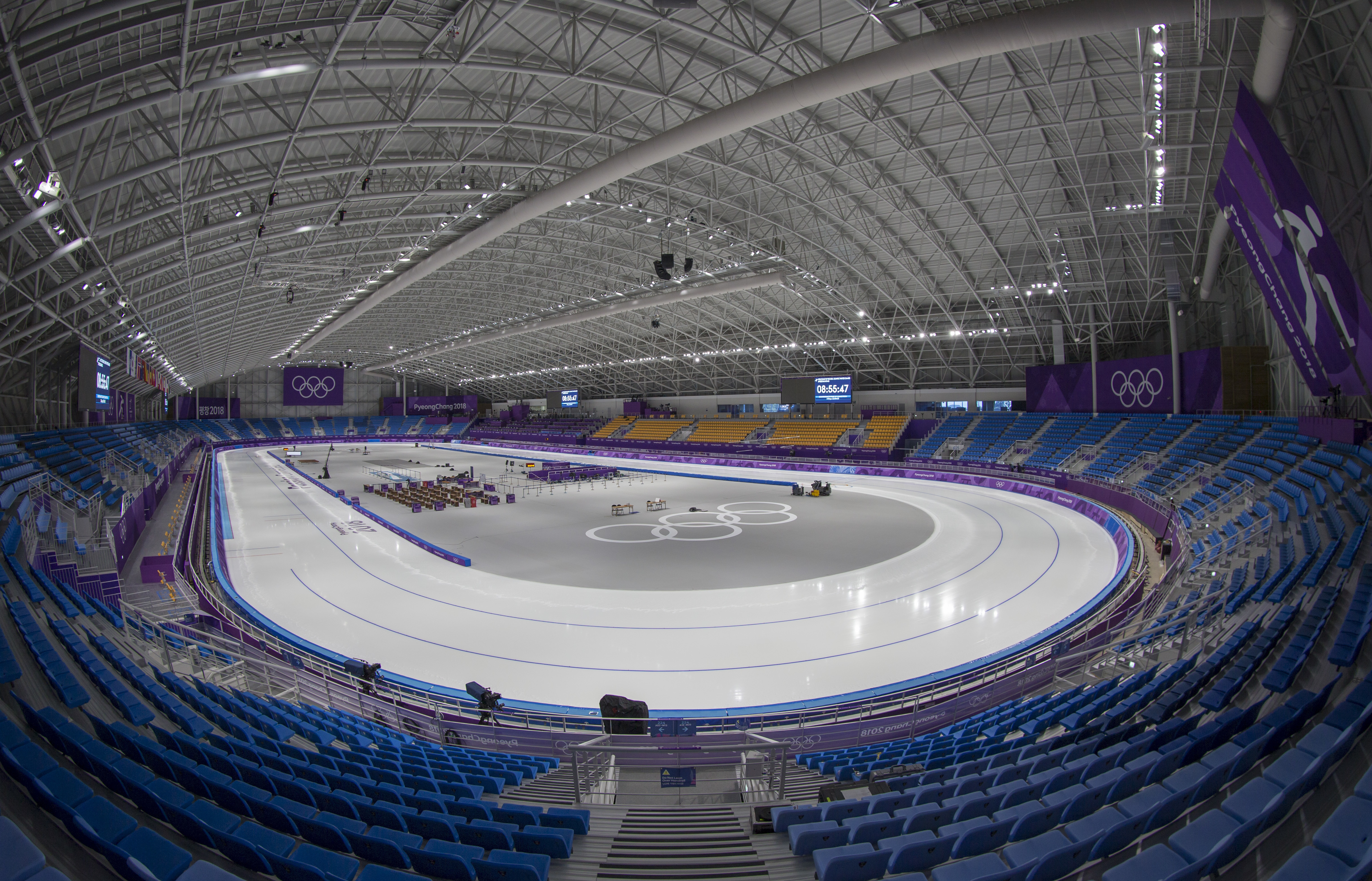 The Gangneung Oval, the venue for speedskating, is prepared before competition begins.