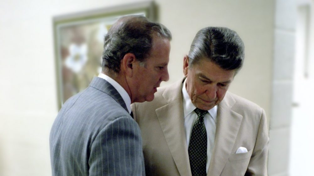 James Baker talking with Ronald Reagan