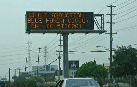 An Amber Alert Sign on a Roadway