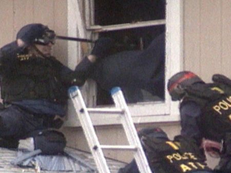 ATF agents on the roof of the Branch Davidian compound.