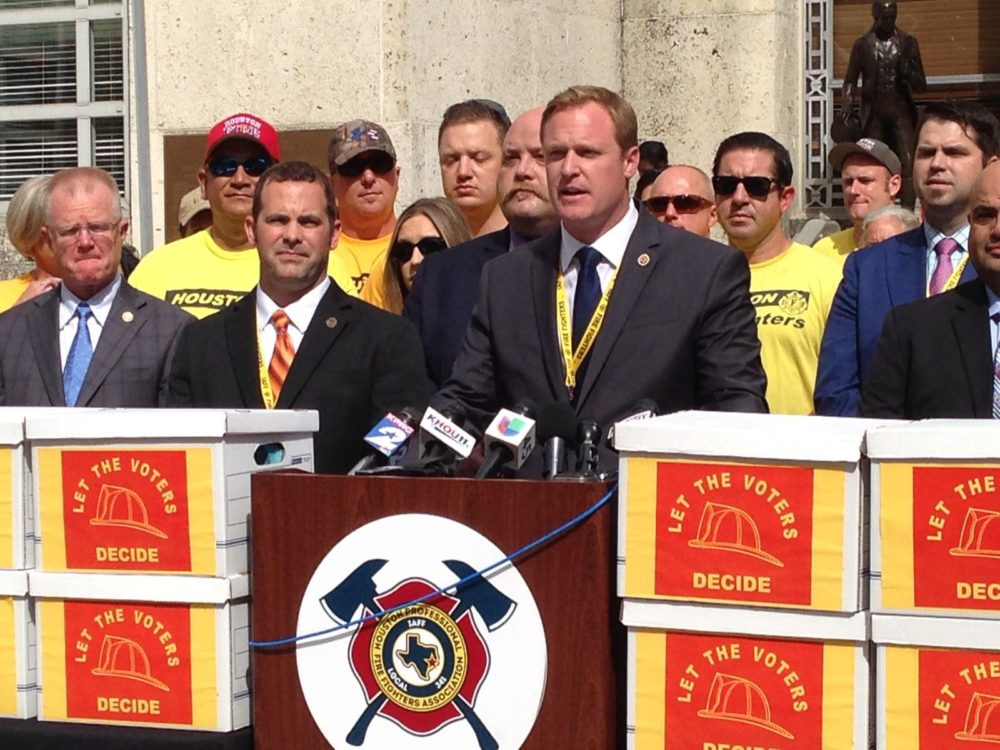 Patrick 'Marty' Lancton, president of the Houston Professional Fire Fighters Association, who in this file photo appears at a press conference held in Houston in July 2017, categorized Judge Hinde's ruling as