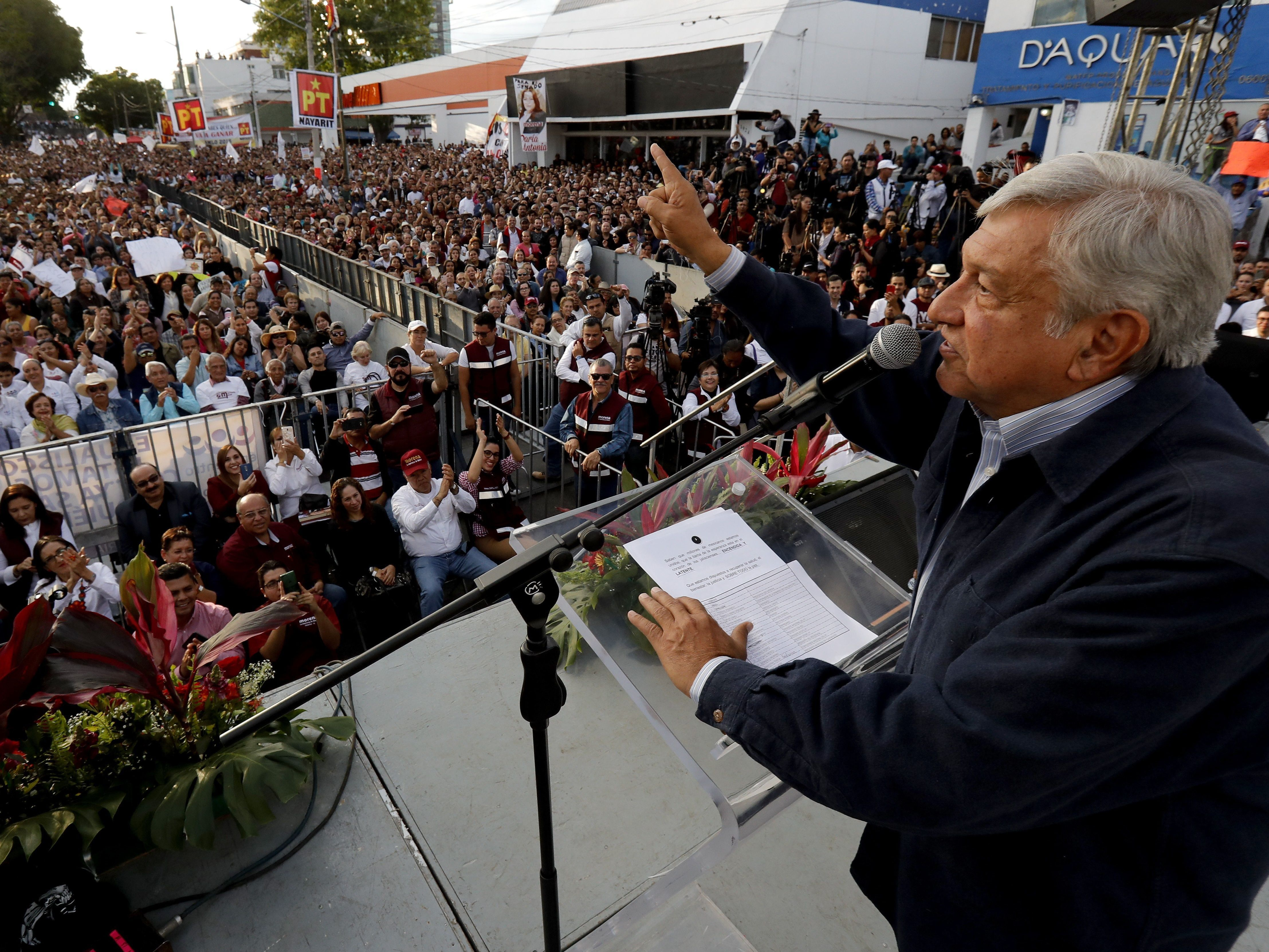 Presidential candidate and front-runner Andres Manuel Lopez Obrador delivers a speech during a rally in Guadalajara on Feb. 11. On Wednesday, he said of Cambridge Analytica: