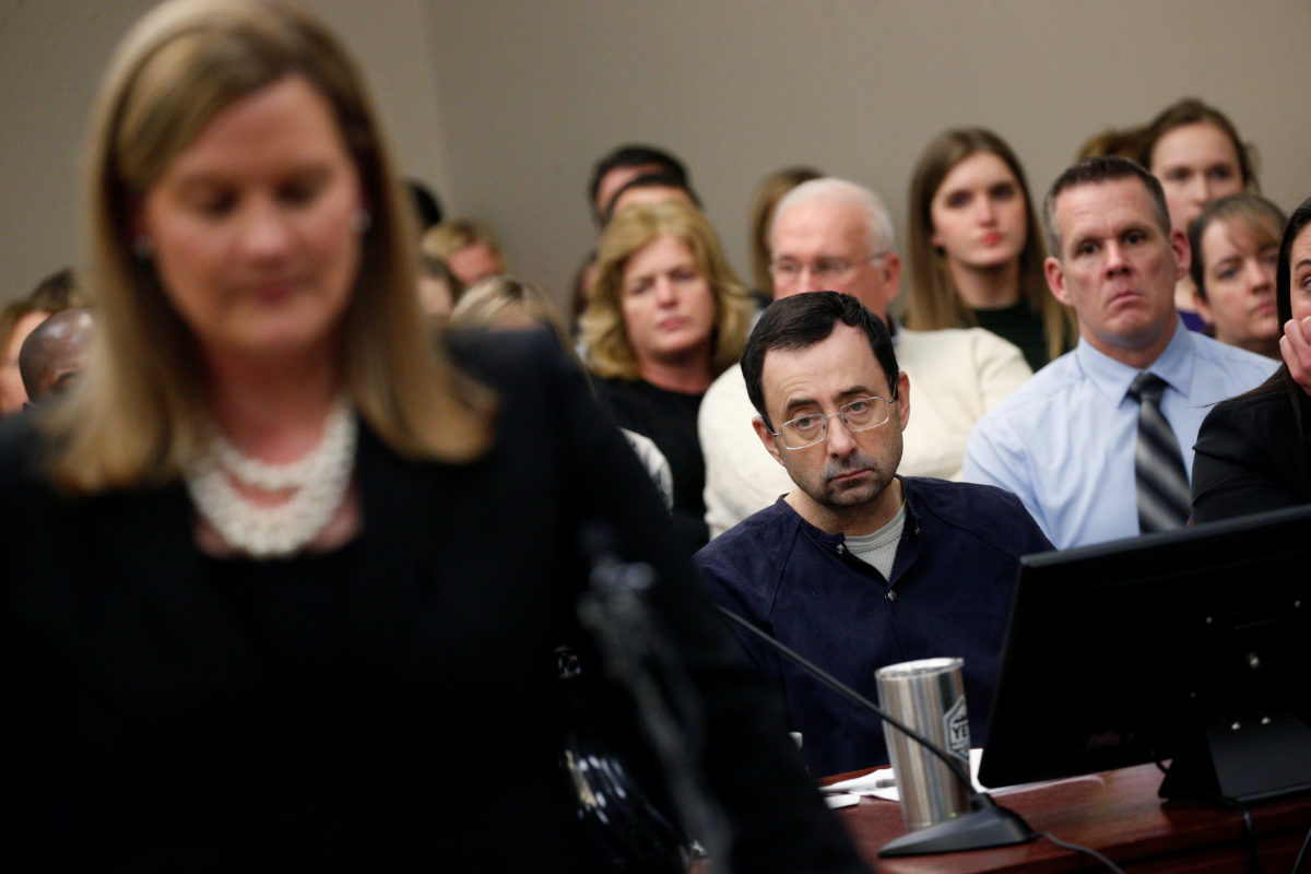 Prosecutor Angela Povilaitis speaks at the sentencing hearing for Larry Nassar, a former team USA Gymnastics doctor who pleaded guilty in November 2017 to sexual assault charges, in Lansing, Michigan, on Jan. 24, 2018.
