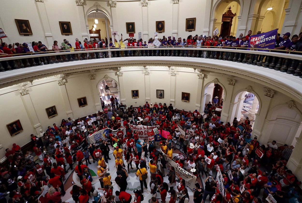 On the last day of the 85th Legislative session, protesters opposed to Senate Bill 4 — the