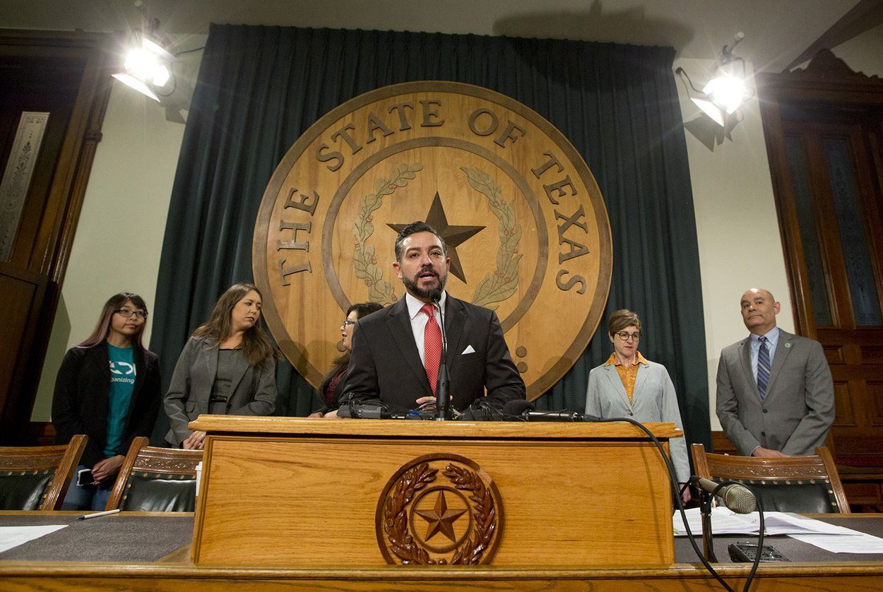 At a press conference at the Texas Capitol, state Rep. César Blanco, D-El Paso, addresses the decision taken by the Trump Administration to add a citizenship question to the 2020 Census.