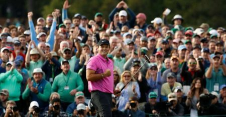 Patrick Reed Celebrates at the Masters