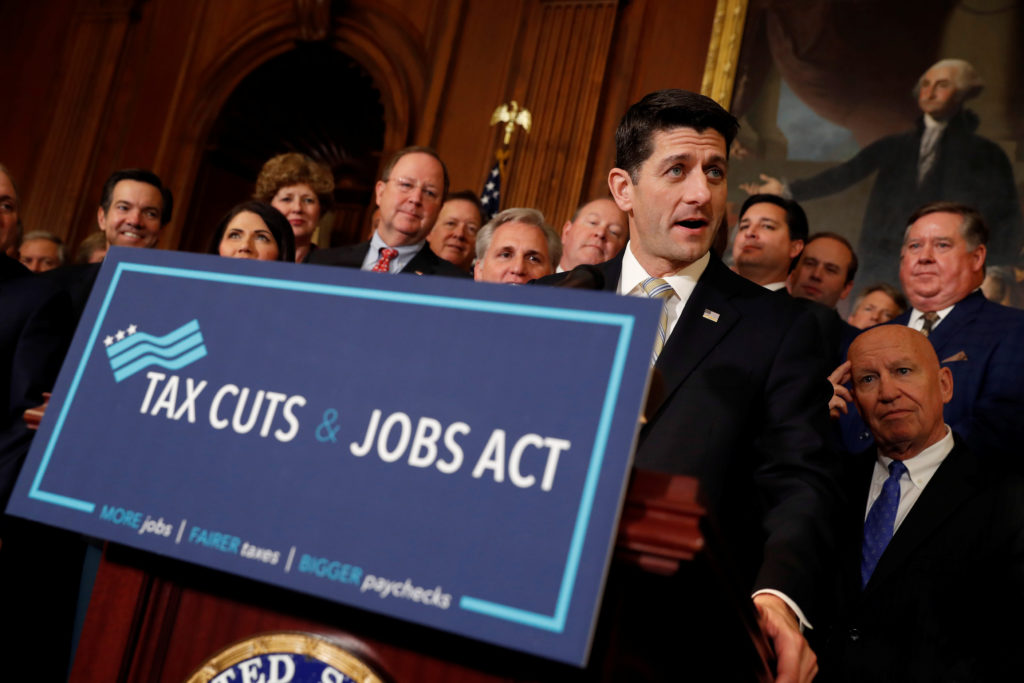 Speaker of the House Paul Ryan speaks at news conference announcing the passage of the