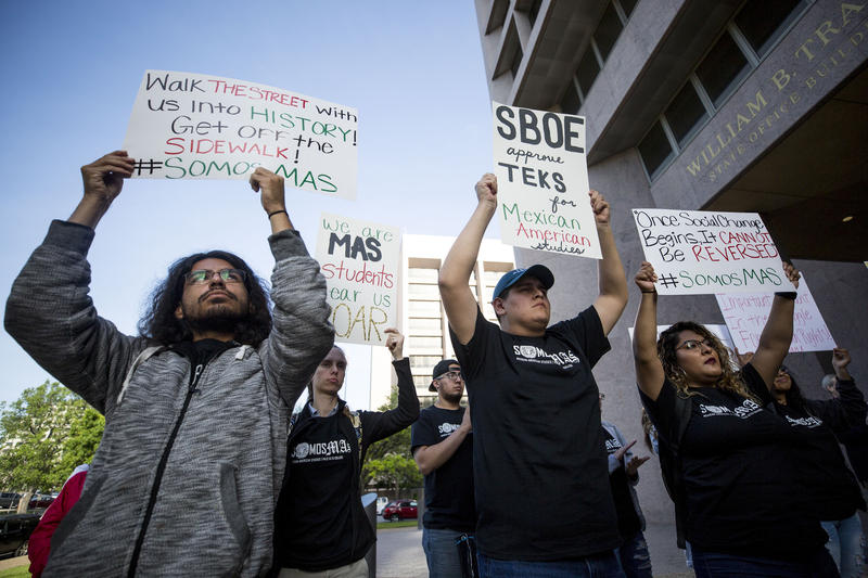 Isaiah Rodriguez, Agatha Scales, Michah Paloma and Wendy Lopez rally in support of a standard Mexican-American studies curriculum for Texas schools on Wednesday.