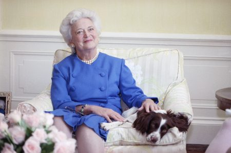 Barbara Bush with Millie 1990