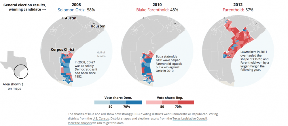 How A Fluke Win Diminished The Political Clout Of Hispanic Voters In - Us-2011-congressional-district-map