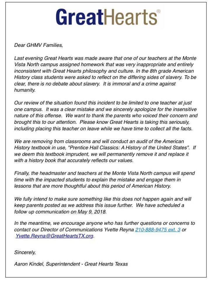 A letter of apology from Great Hearts Monte Vista North charter school.