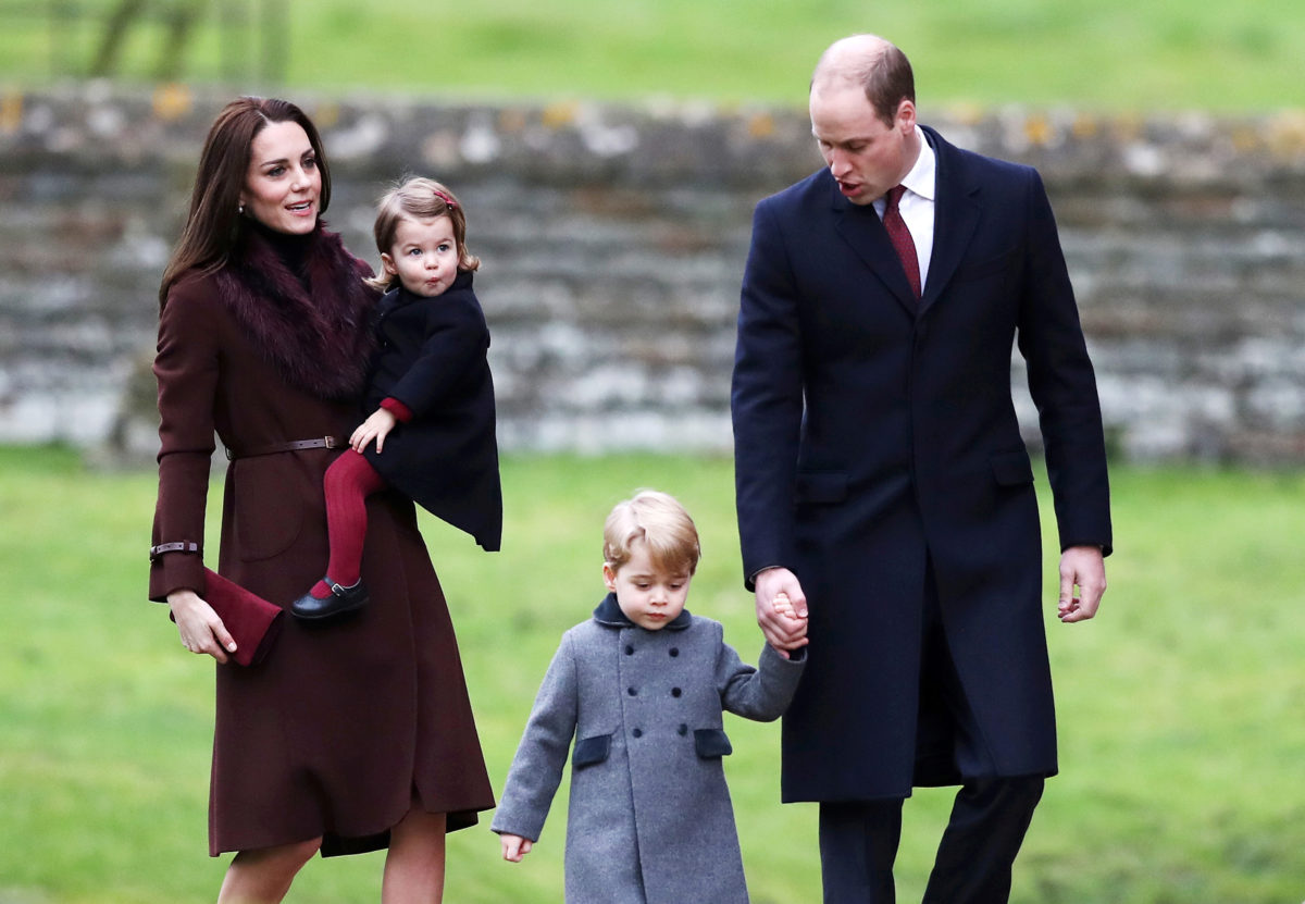 Prince William and his wife Catherine Middleton attend the morning Christmas Day service with their children on December 25, 2016.