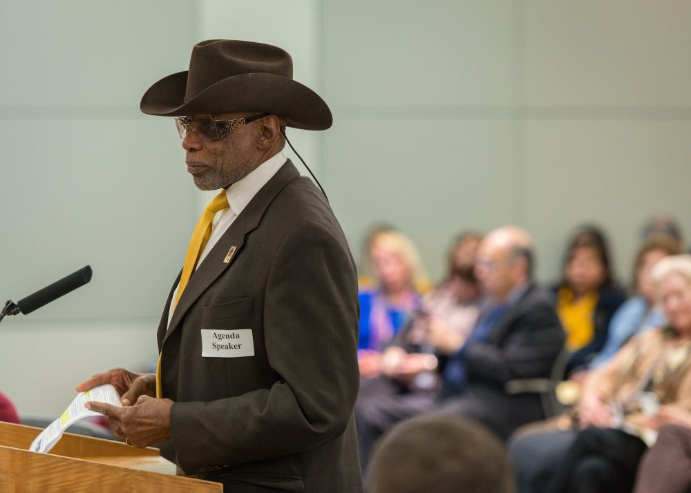 James Douglas comments during a meeting of the Houston ISD Board of Trustees, January 14, 2016. Douglas is a board member for Energized for STEM, president of the Houston NAACP and former president of Texas Southern University.