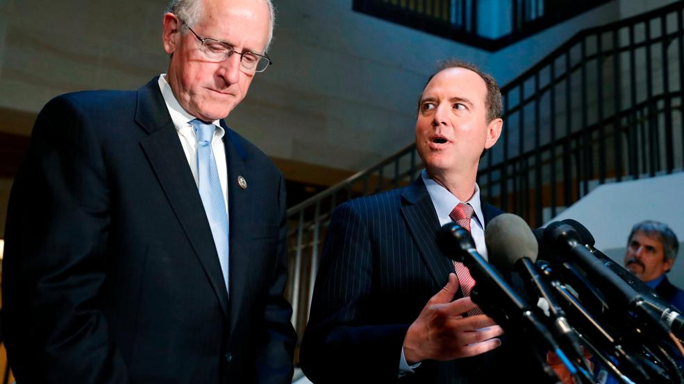In this June 6, 2017, file photo Rep. Mike Conaway, R-Texas, left, a member of the House Intelligence Committee, and Rep. Adam Schiff, D-Calif., ranking member of the House Intelligence Committee speak after closed meeting in Washington.