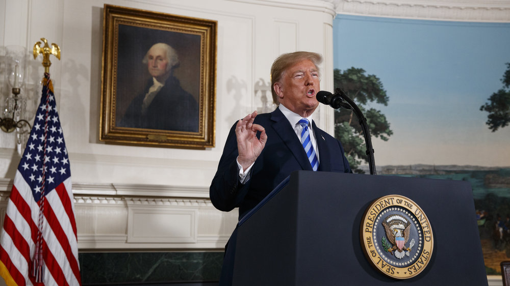 President Trump delivers a statement on the Iran nuclear deal from the Diplomatic Reception Room of the White House Tuesday, May 8.