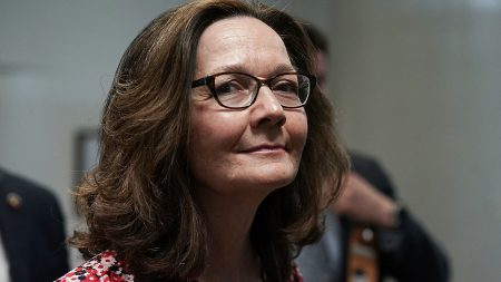 CIA nominee Gina Haspel is seen waiting for the Senate subway during a day of meetings with senators ahead of her confirmation hearing.