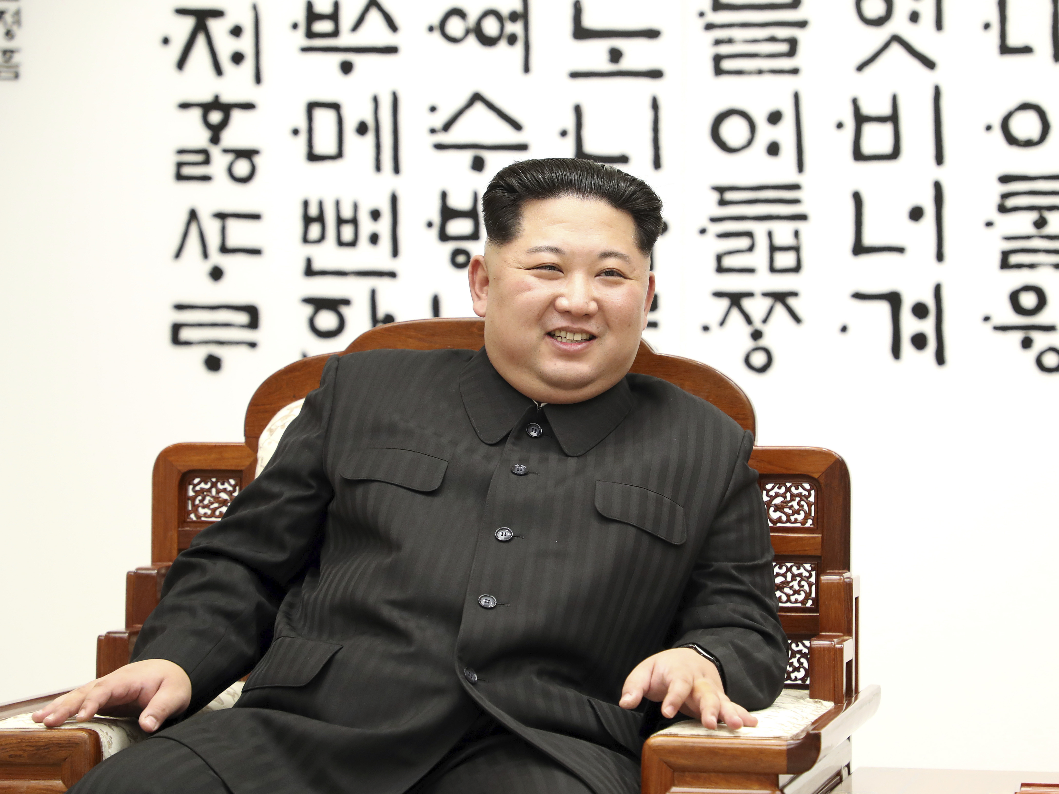 North Korean leader Kim Jong Un is seen at Peace House of the border village of Panmunjom in the Demilitarized Zone, South Korea on April 27.