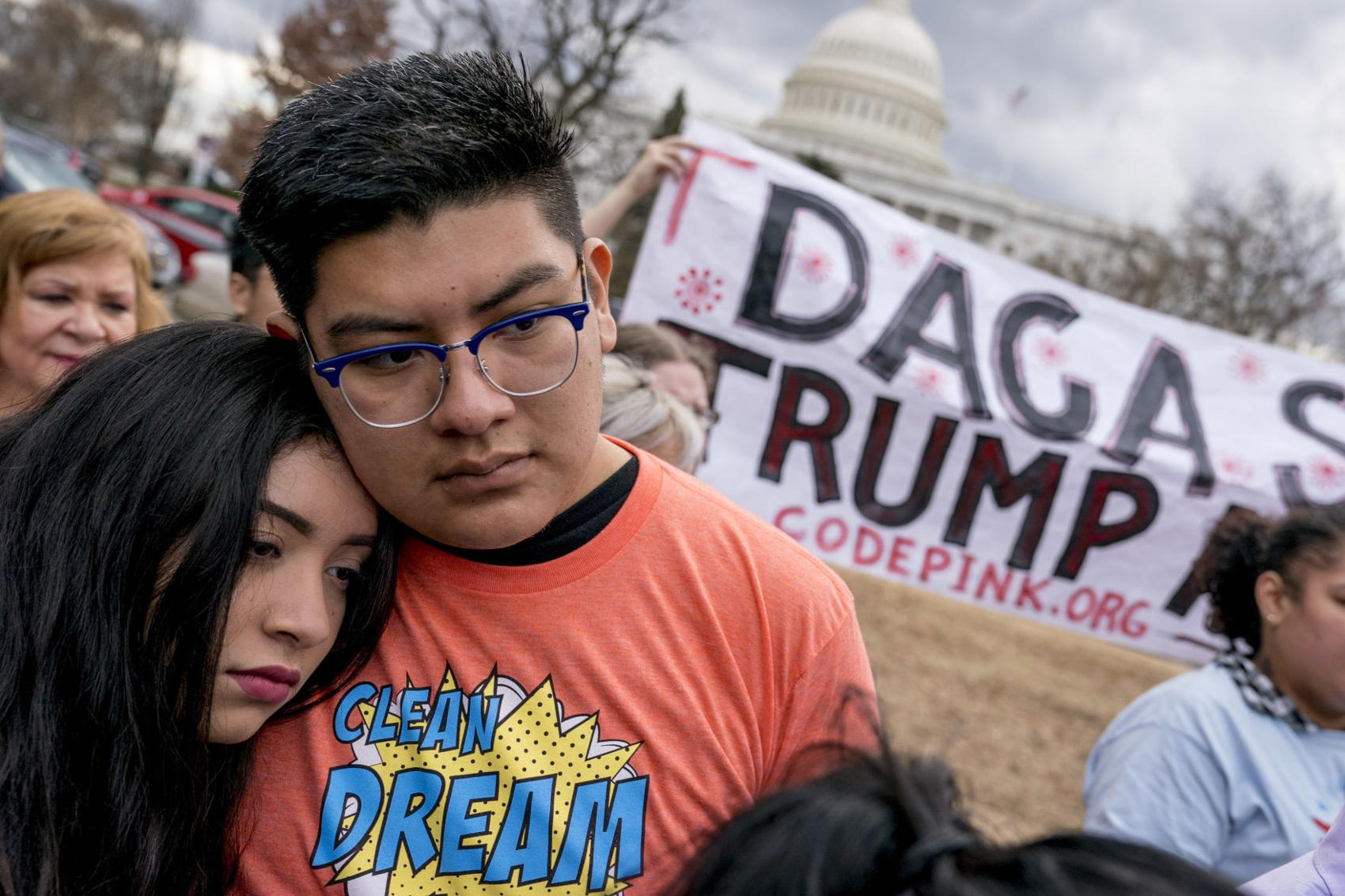 In this Jan. 23, 2018, file photo, immigration advocates hold a rally on Capitol Hill in Washington.