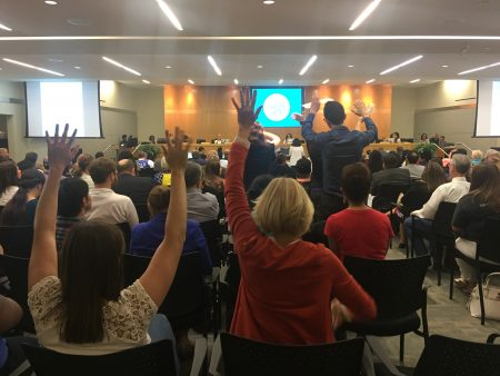 More than 100 people signed up to speak at the May 10, 2018 HISD board meeting. Many expressed frustration and disappointment with how the board has handled recent meetings.
