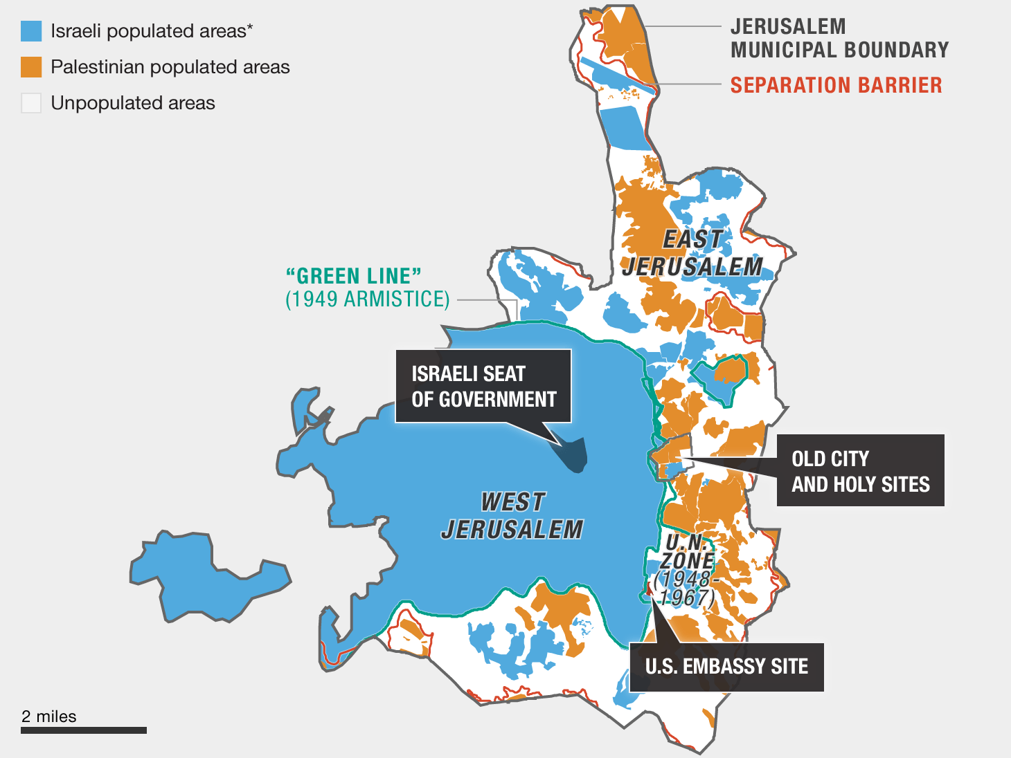 Note: * Blue shading in West Jerusalem reflects territory controlled by Israel since 1949. It does not denote specific populated or unpopulated areas.