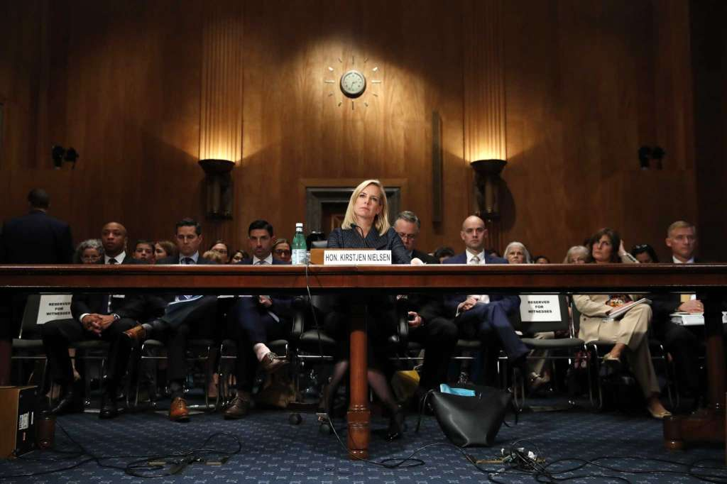 Homeland Security Secretary Kirstjen Nielsen testifies to the Senate Homeland Security Committee, Tuesday, May 15, 2018, on Capitol Hill in Washington.