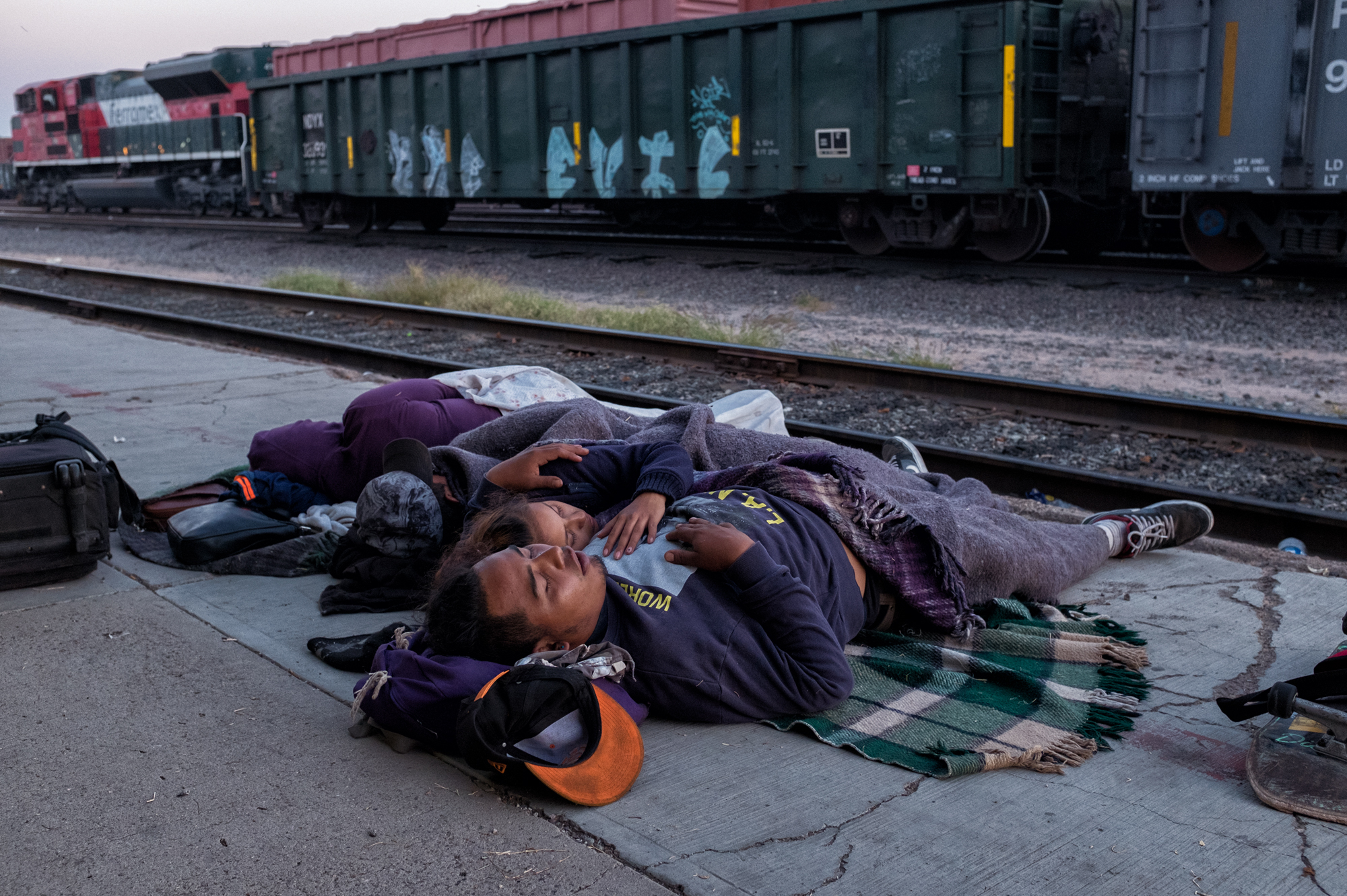 Refugee caravan members sleep near the railroad tracks in Sonora. On April 9, 2017, a group of Central Americans from Guatemala, El Salvador, Honduras and Nicaragua joined to form the 2017 Refugee Caravan, or Viacrucis 2017, put together by organizations from Mexico and the U.S.