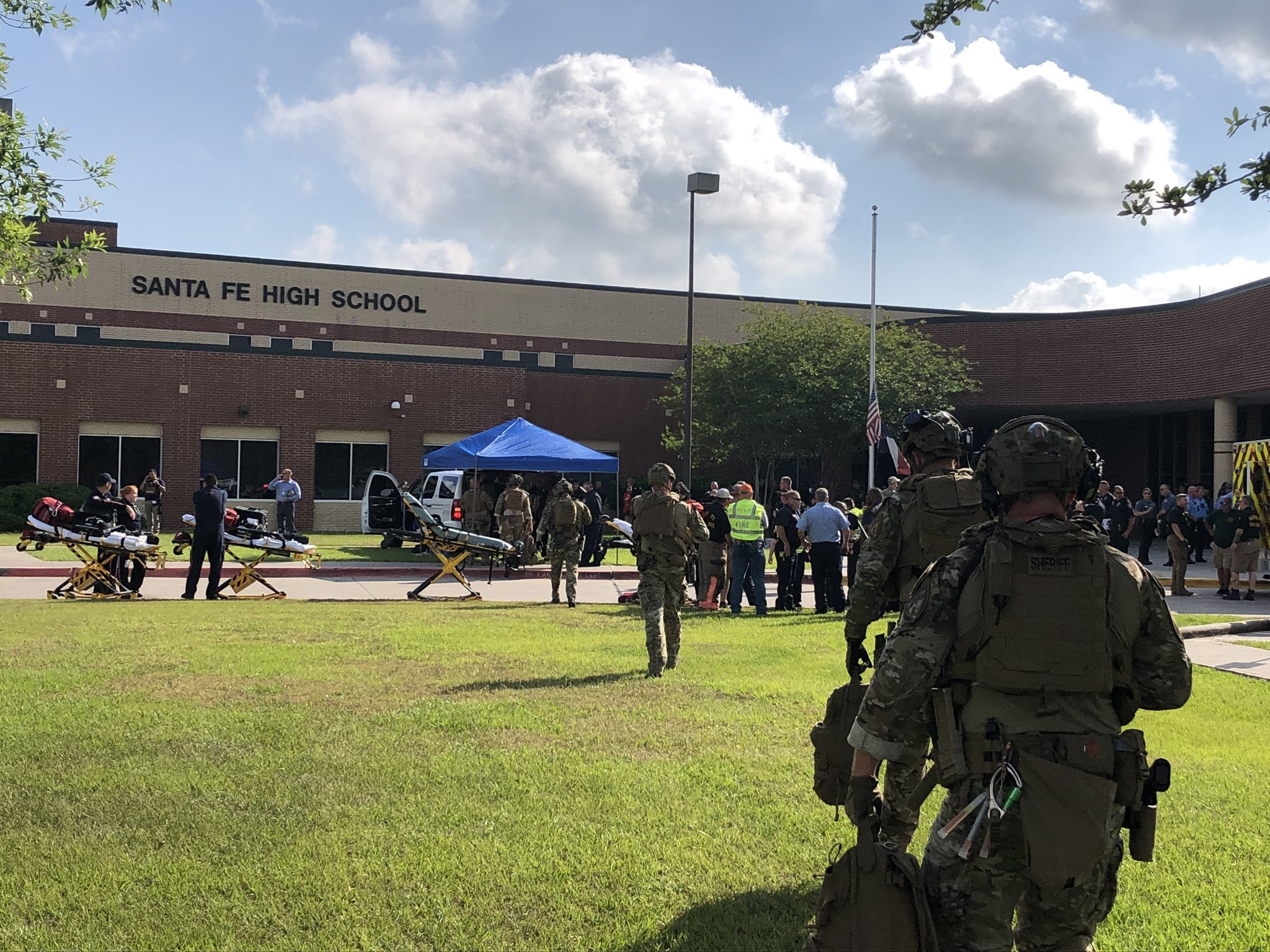 Law enforcement agencies are deployed at Santa Fe High School, located in Galveston County, because of the shooting incident that happened in the morning of May 18, 2018.